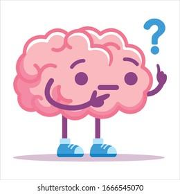 Vector Cute Cartoon Brain Pink Thinking Isolated