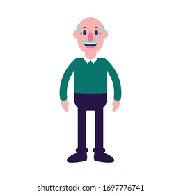 Vector Cute Cartoon Character Grandfather with a Mustache Isolated