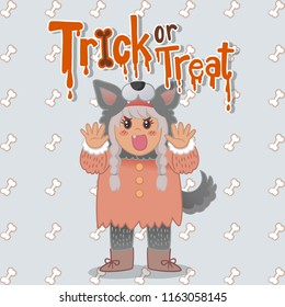 Vector cute cartoon character Halloween girl warewolf with hand drawing text trick or treat