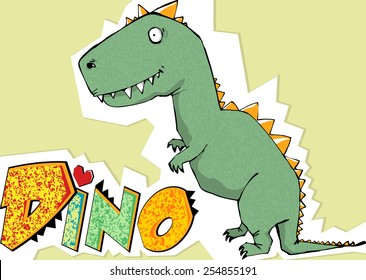 "vector cute cartoon dinosaur with words ""dino"""