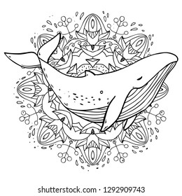 Vector cute cartoon drawing sea life whale with mandala floral pattern element on white background for coloring art