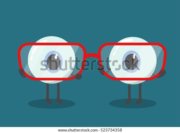los ojos vectoriales lindos caricaturizados sostienen anteojos. ¿Eres corta o con visión de largo?