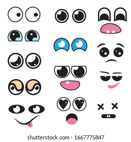Vector cute cartoon eyes and mouths muzzle set.