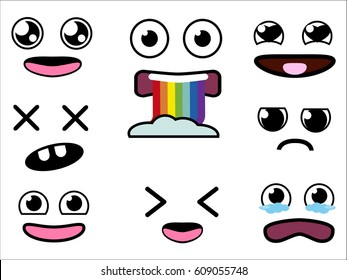 Vector cute cartoon eyes and mouths set. Collection of kids face emotions elements. Kawaii emotions with different expressions - happiness, rainbow vomiting, fear, tears, frumpy and dead face