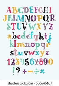 Vector cute cartoon funny serif abc colorful uppercase and lowercase letters sticker alphabet with number and plus, minus, division, multiplication, marks, equals. Set of characters for card, banners