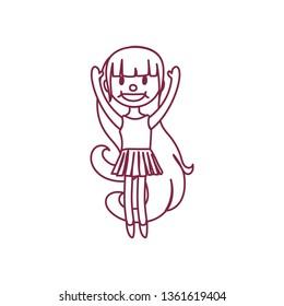 vector cute cartoon kid, child clip art coloring book page