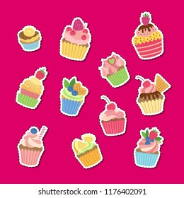 Vector cute cartoon muffins or cupcakes stickers set illustration. Colored cupcake collection, cartoon sweet cake