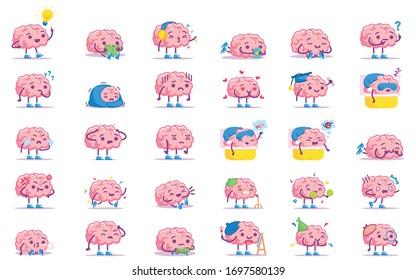 Vector Cute Cartoon Pink Brains Set Isolated