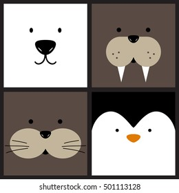 Vector cute cartoon polar bear, walrus, otter and penguin