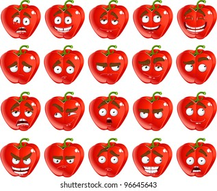 Vector cute cartoon red Bulgarian pepper smile with many expressions