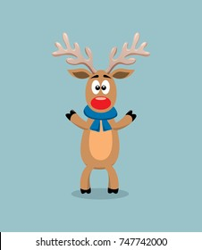 vector cute cartoon of red nosed reindeer, rudolph. funny character for merry christmas  and new year illustrations