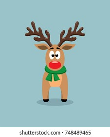 vector cute cartoon of red nosed reindeer, rudolph. funny character for merry christmas  and new year holiday illustrations