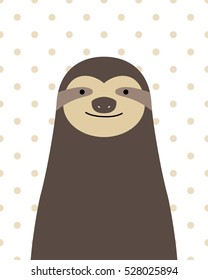 Vector cute cartoon sloth on a white background