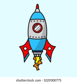 Vector cute cartoon space ship. Colorful rocket toy. Vector illustration for your graphic design.