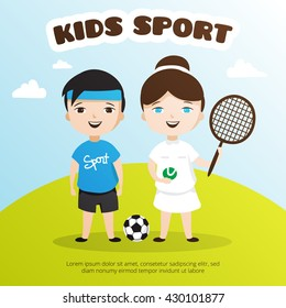 Vector cute cartoon style kids sports illustration. Children sport school poster