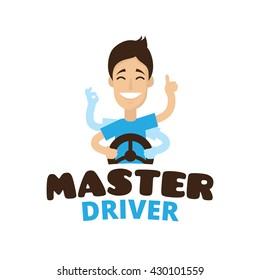 Vector cute cartoon style mascot driver school logo. Guru teen driving symbol