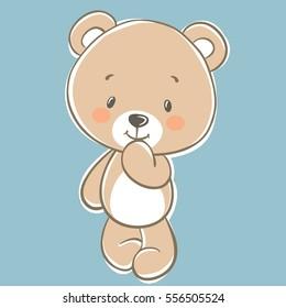 Vector Cute cartoon Teddy bear on blue background