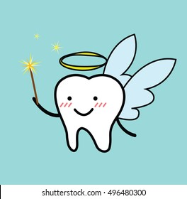 Vector of cute cartoon of tooth fairy