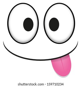 A Vector Cute Cartoon White Face With Tongue Out