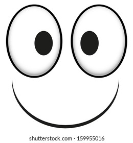 A Vector Cute Cartoon White Happy Face