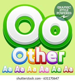 Vector cute children alphabet set. Contains different graphic style. Letter O