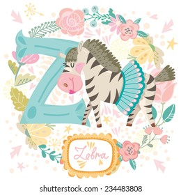 "Vector cute children Animals Alphabet. Letter ""Z"" Lovely Zebra. One of the set."