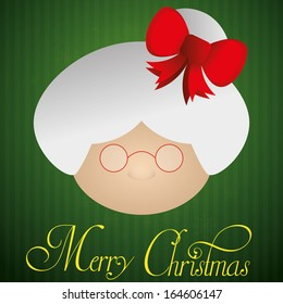Vector Cute Christmas Card With Mrs Claus Face