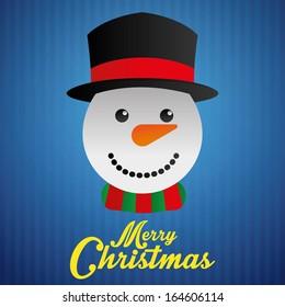 Vector Cute Christmas Card With A Snowman Face