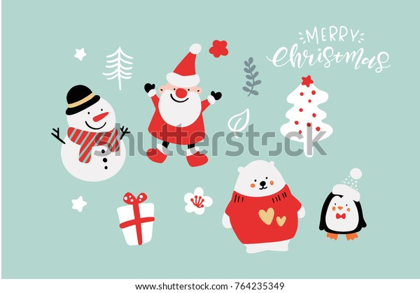 Cute Christmas.Vector Cute Christmas Graphics Graphic Poster Stock Vector