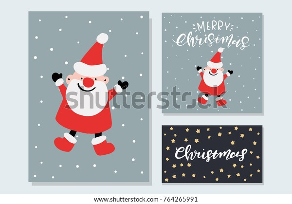 Cute Christmas Backgrounds.Vector Cute Christmas Graphics Holiday Cards Stock Vector