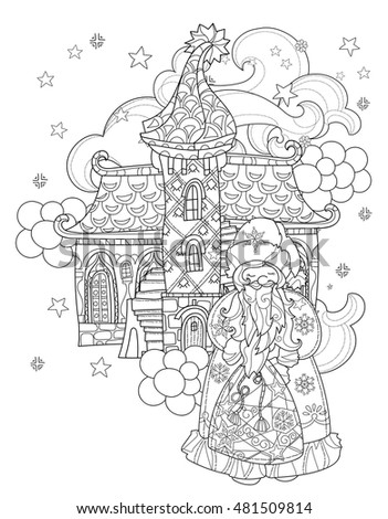 vector cute christmas santa claus in fairy europe tale town doodlehand drawn line illustration