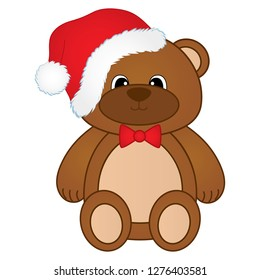 Vector cute Christmas teddy bear.  Vector first baby toy. Design element for baby shower, invitation, scrapbook, cards. Vector brown teddy bear in Santa's hat. Christmas teddy bear vector illustration