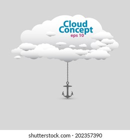 Vector cute cloud concept with anchor, illustration