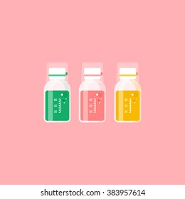 vector cute cold medicine, prescription medicine liquid bottles, medicated syrup, cough syrup / cartoon, flat style, long shadow design, icon template, circle / on pink