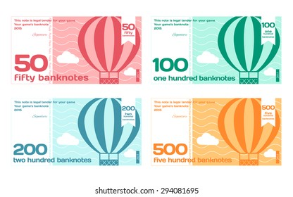 Vector Cute Color Banknotes Set 2 in Flat Style on White Background