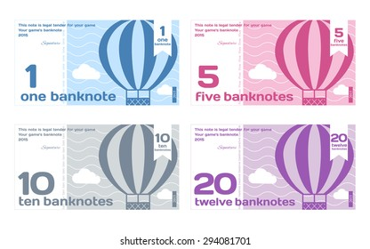 Vector Cute Color Banknotes Set 1 in Flat Style on White Background