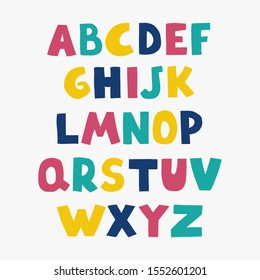 Vector cute colorful alphabet for kids. Can be used as elements for your design for greeting cards, nursery, poster, card, birthday party, packaging paper design, baby t-shirts prints
