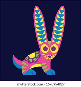 Vector Cute Colorful Cartoon Alebrije Rabbit Isolated