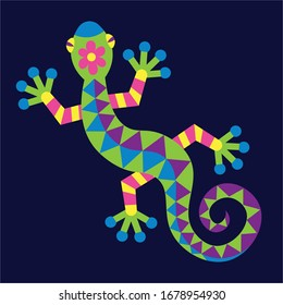 Vector Cute Colorful Cartoon Alebrije Lizard Isolated