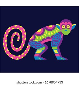 Vector Cute Colorful Cartoon Alebrije Monkey Isolated