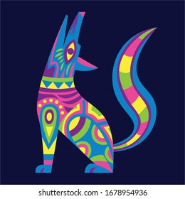 Vector Cute Colorful Cartoon Alebrije Wolf-Dog Isolated