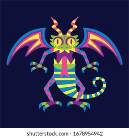 Vector Cute Colorful Cartoon Alebrije Dragon Isolated