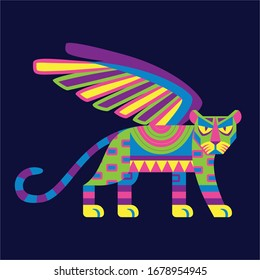 Vector Cute Colorful Cartoon Alebrije Jaguar Isolated