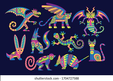 Vector Cute Colorful Cartoon Alebrije Set Isolated