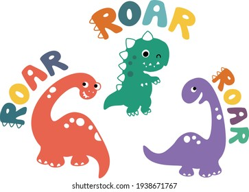 Vector cute colorful dinosaurus set with ROAR text. For birthday party, t-shirt prints, nursery.