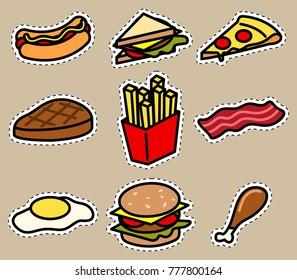 Vector cute design of junk food.