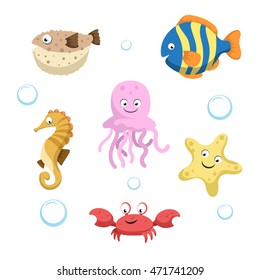 Vector cute different sea and ocean animals set. Isolated vector illustration. Colorful fish, seahorse, jellyfish, starfish, crab and blowfish.