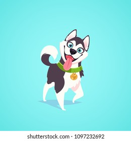 Vector cute dog character illustration. Cartoon style. Happy hungry corgi puppy with tongue out. Pet.