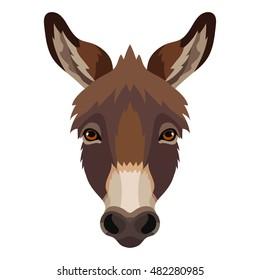Vector cute donkey face animal portrait, head, sad, domestic, farm zoo icon