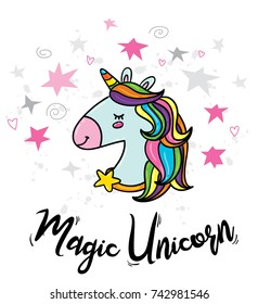 Vector cute doodle illustration of magic unicorn with rainbow hairs and stars around. Card print, poster or t-shirt print hipster trendy design concept template